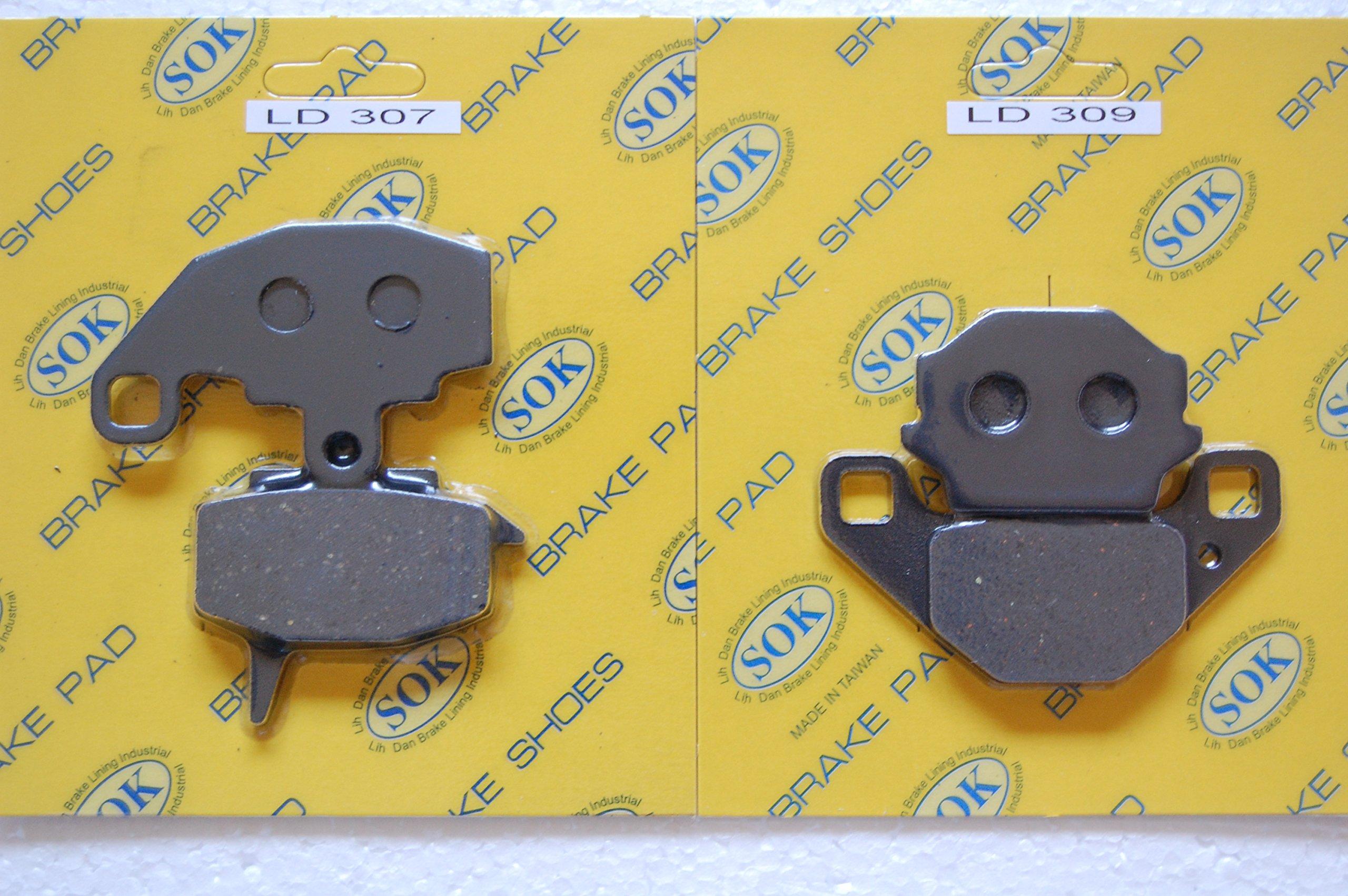 FRONT&REAR BRAKE PADS KAWASAKI KLR 650, 1987-2007 KLR650 KL 650 KL650 (LD307 LD309)