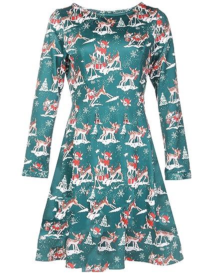6df7a2a25d Felove Women s Christmas Reindeer and Santa Claus Print Swing Dress ...
