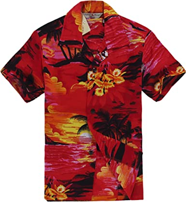 Hawaii Hangover Camisa Hawaiana del Muchacho o Conjunto de la cabaña en Puesta del Sol roja