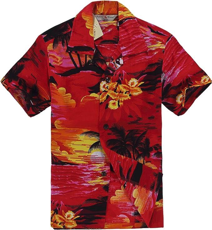 Hawaii Hangover Camisa Hawaiana del Muchacho o Conjunto de la cabaña en Puesta del Sol roja: Amazon.es: Ropa y accesorios