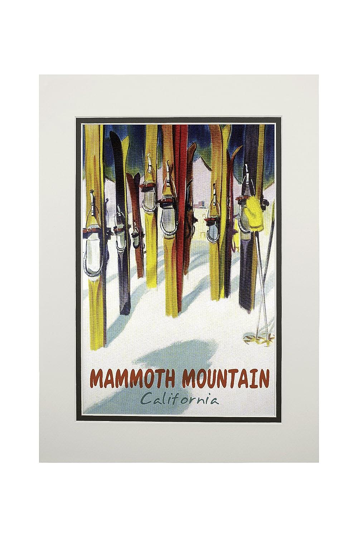 Mammoth Mountain、カリフォルニア – カラフルなスキー 11 x 14 Matted Art Print LANT-57465-11x14M B06XZXGDSG 11 x 14 Matted Art Print11 x 14 Matted Art Print