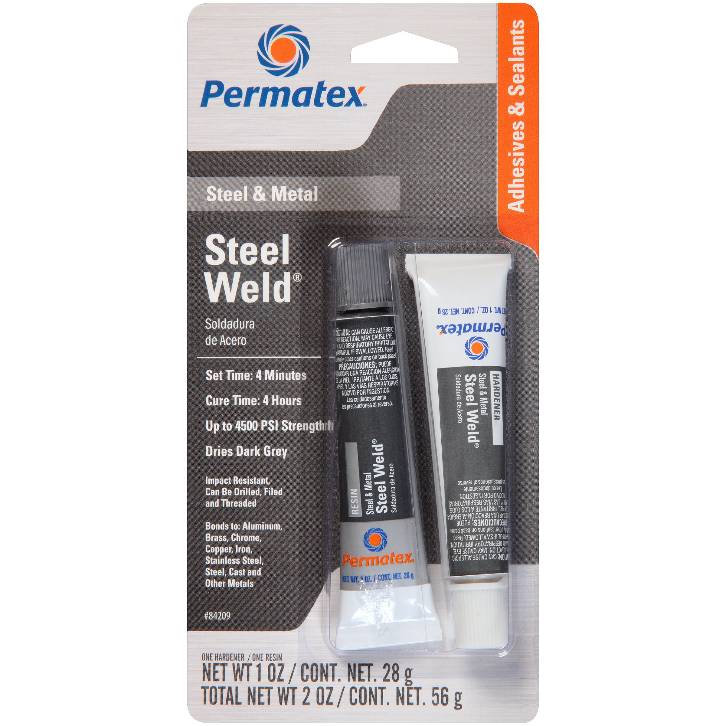 Permatex 84209 PermaPoxy 4-Minute Multi-Metal Epoxy - Two 1 oz. Tubes, (Pack of 12)