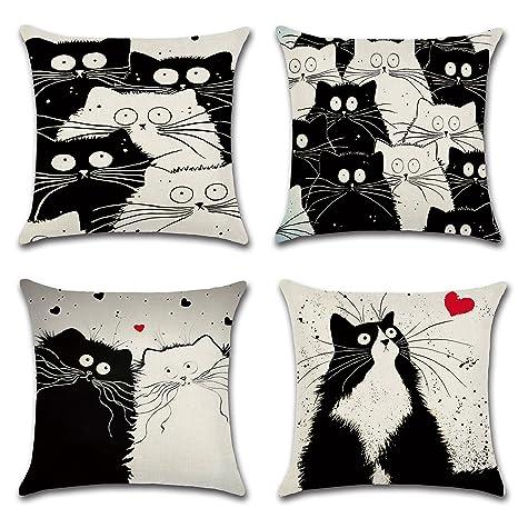 Juego de 4 gato manta fundas de almohada decorativa, 18 x 18 ...