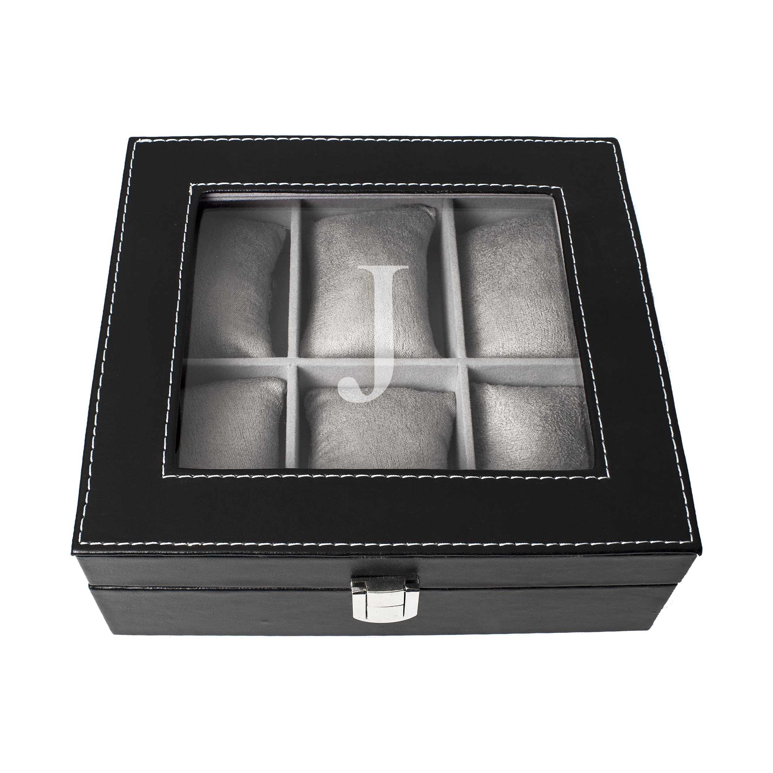 Cathy's Concepts Personalized Men's Leatherette Watch Box, Letter J by Cathy's Concepts