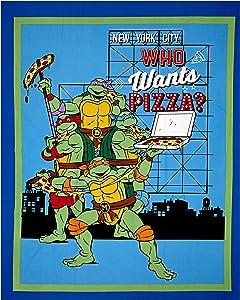 Springs Creative Products Nickelodeon Teenage Mutant Ninja Turtles Retro TMNT Who Wants Pizza? 36in Panel White Fabric