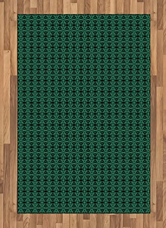 Amazon Com Lunarable Green And Black Area Rug Antique Motifs Of