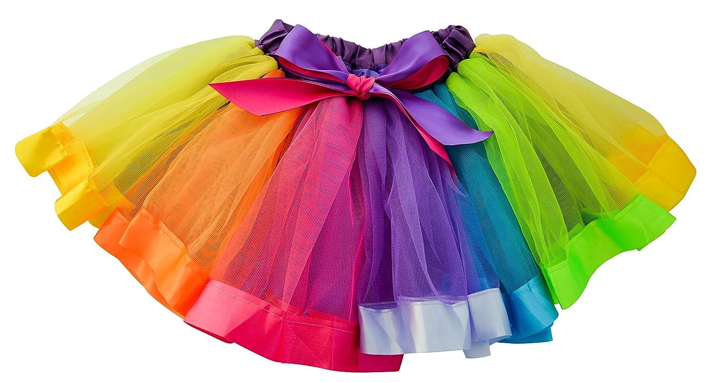 Dancina Little Girls Unicorn Rainbow Tutu Layered Ballet Tulle Skirt w/Underskirt