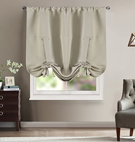 BHU Rod Pocket Panel Blackout Curtains Thermal Curtain For Living Room Ivory 46W X 63L One