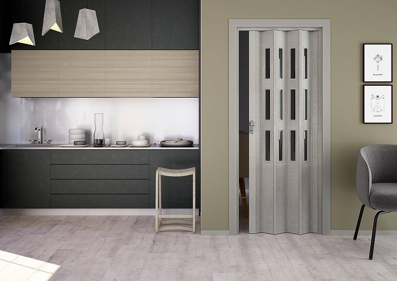eiche taupe Kunststoff-Faltt/ür Elvira 3D-Farben 202x87 cm mit 3 Cristall-Fenster