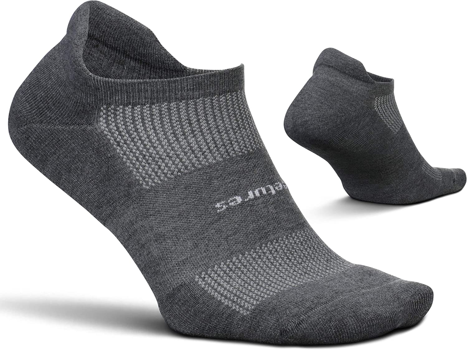 Feetures Unisex High Performance Cushion No Show Tab Sock (Small, Heather Gray)