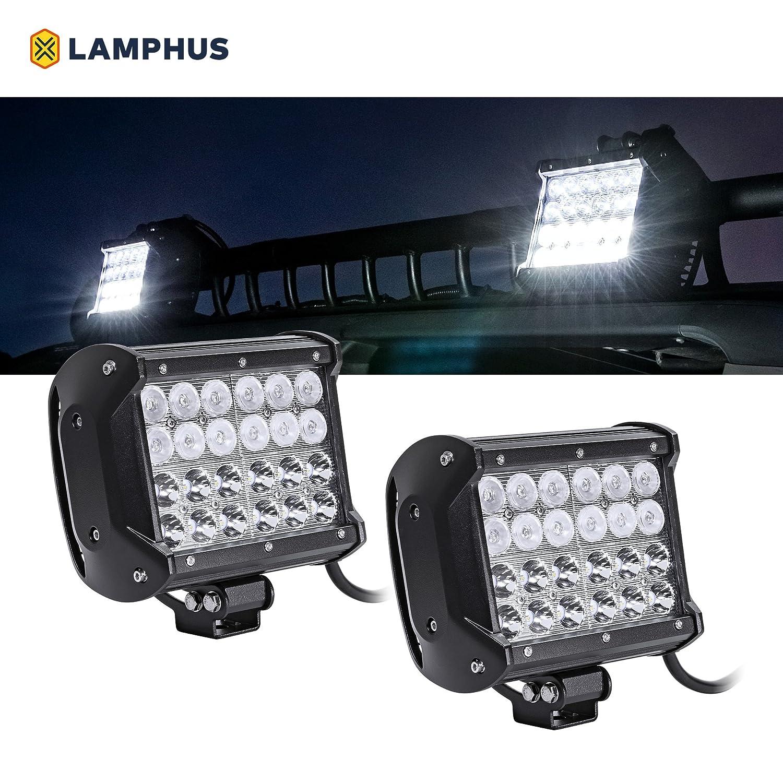 Flood//Spot Combo 30//60 Degree Spread Dual-Stacked ATV UTV Jeep Off-Road Lights IP67 Rated LAMPHUS 2pc CRUIZER 4 36W LED Work Light Bar