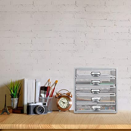 Relaxdays, 29 x 27,5 x 35,5 cm Organizador Escritorio con 5 ...
