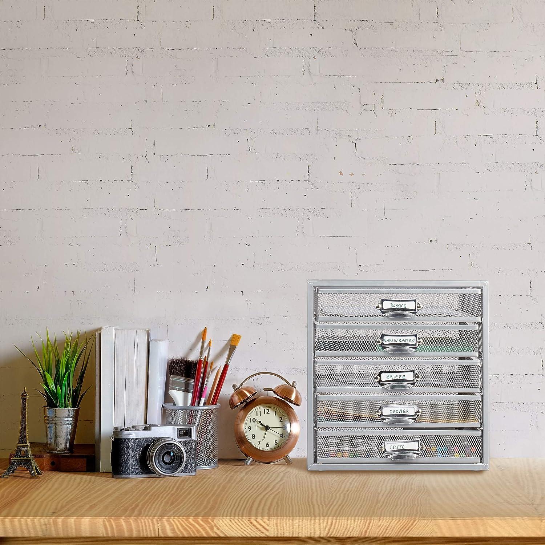 29 x 27,5 x 35,5 cm Plateado Relaxdays Organizador Escritorio con 5 cajones para Documentos a4 Acero Plata
