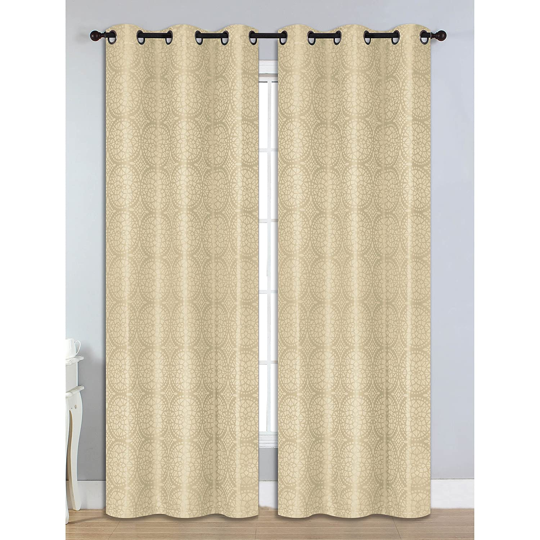 Bella Luna Marcus Jacquard Room Darkening 76 x 84 in. Grommet Curtain Panel Pair, Chocolate Creative Home Ideas YMC004739