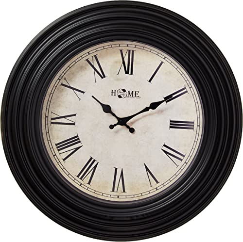 Uniware Antique Vintage Wall Clock, Roman Numeral Design, 20 x 2.2 Inch Black I , Large