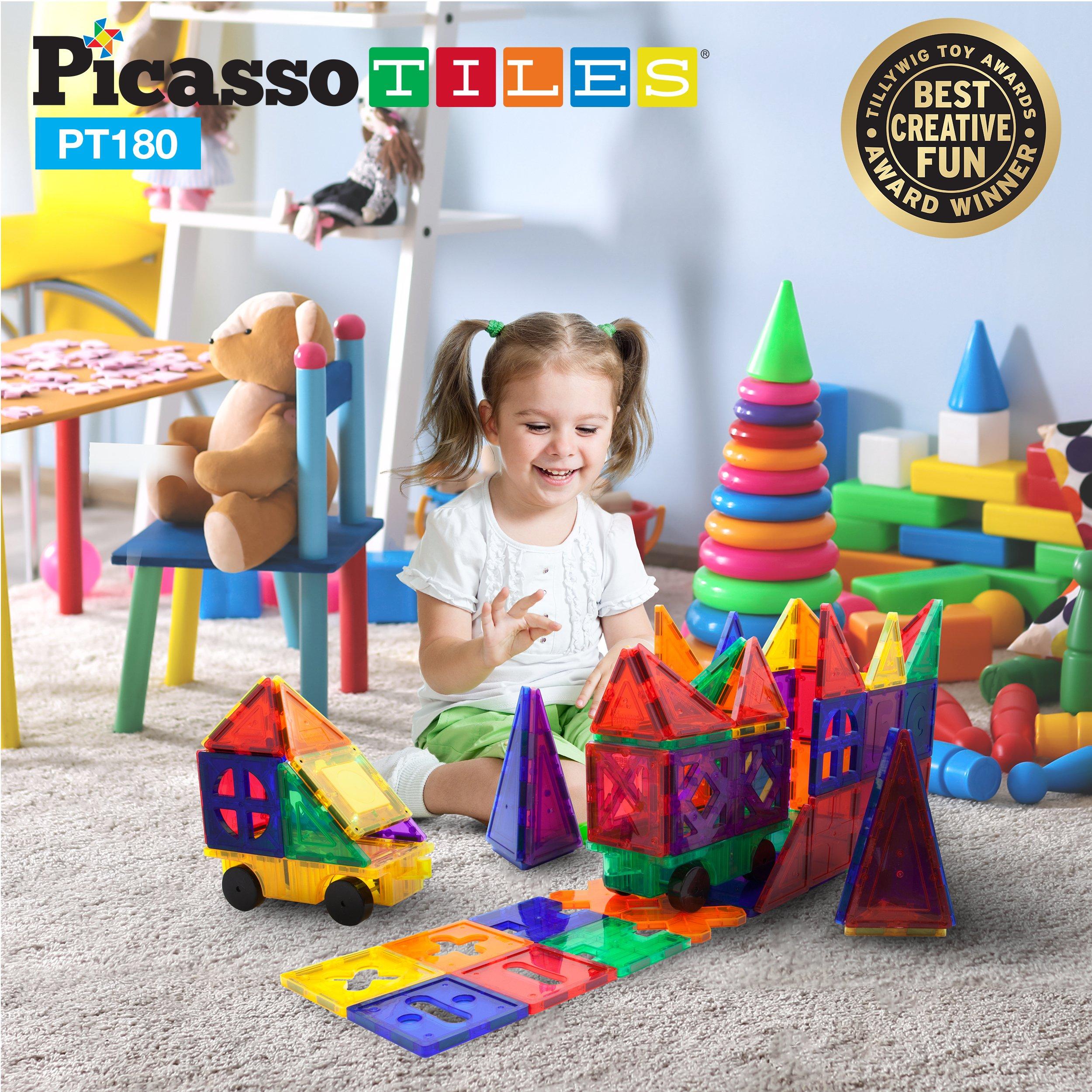 PicassoTiles PT180 Piece Set 180pc Building Block Toy Deluxe Construction Kit Magnet Building Tiles Clear Color Magnetic 3D Construction Playboards Educational Blocks Creativity Beyond Imagination by PicassoTiles (Image #9)