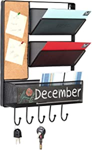 MyGift Wall Mounted Mesh Metal Hanging Mail Sorter, Storage Basket w/Chalkboard, Cork Board & Key Hooks, Black