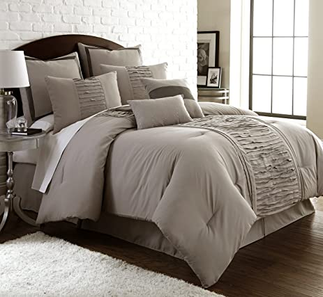 Amrapur Overseas | Marilyn 8 Piece Ruffled Comforter Set (Taupe, King)