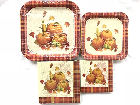 Fall Holiday Tableware Kit for 10 u2013 Pumpkin Themed Paper Plates and Napkins u2013 Large and  sc 1 st  Amazon.com & Amazon.com: Fall Holiday Tableware Kit for 10 u2013 Pumpkin Themed Paper ...