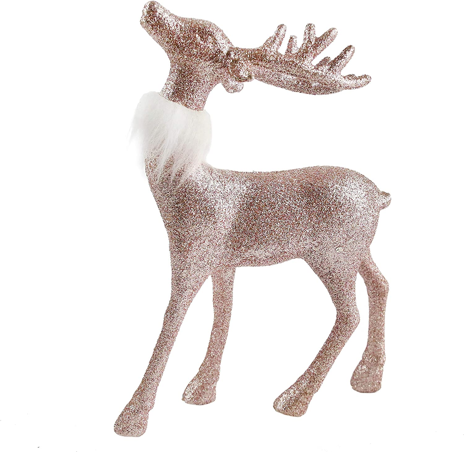 Athoinsu 9'' Christmas Reindeer Figurine Table Desk Decorations Glittering Xmas Holiday Party Supply, Pink (Plastic)