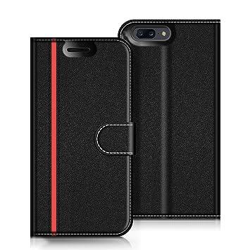 COODIO Funda OnePlus 5 con Tapa, Funda Movil OnePlus 5, Funda Libro OnePlus 5 Carcasa Magnético Funda para OnePlus 5, Negro/Rojo