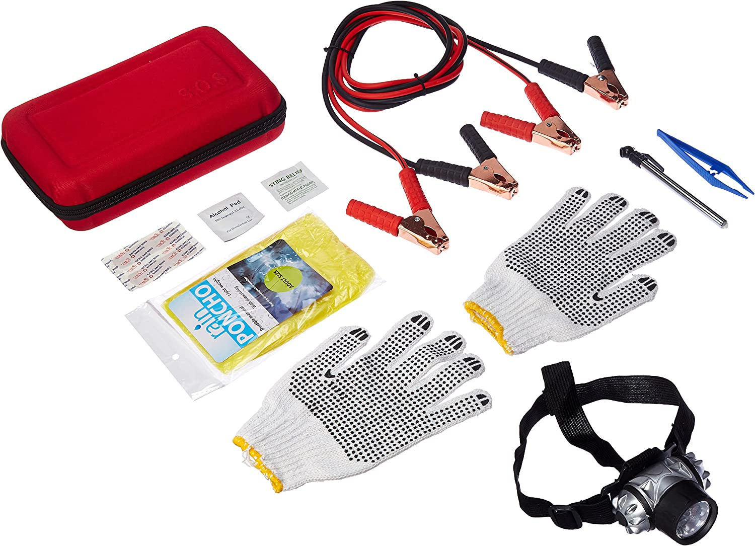 First Aid Kit with Jumper Cables Tow Rope,Triangle QLOUNI 12pcs Car Emergency Kit Rain Coat Flash Light Tire Pressure Gauge Safety Vest More Multifunctional Roadside Assistance Tools