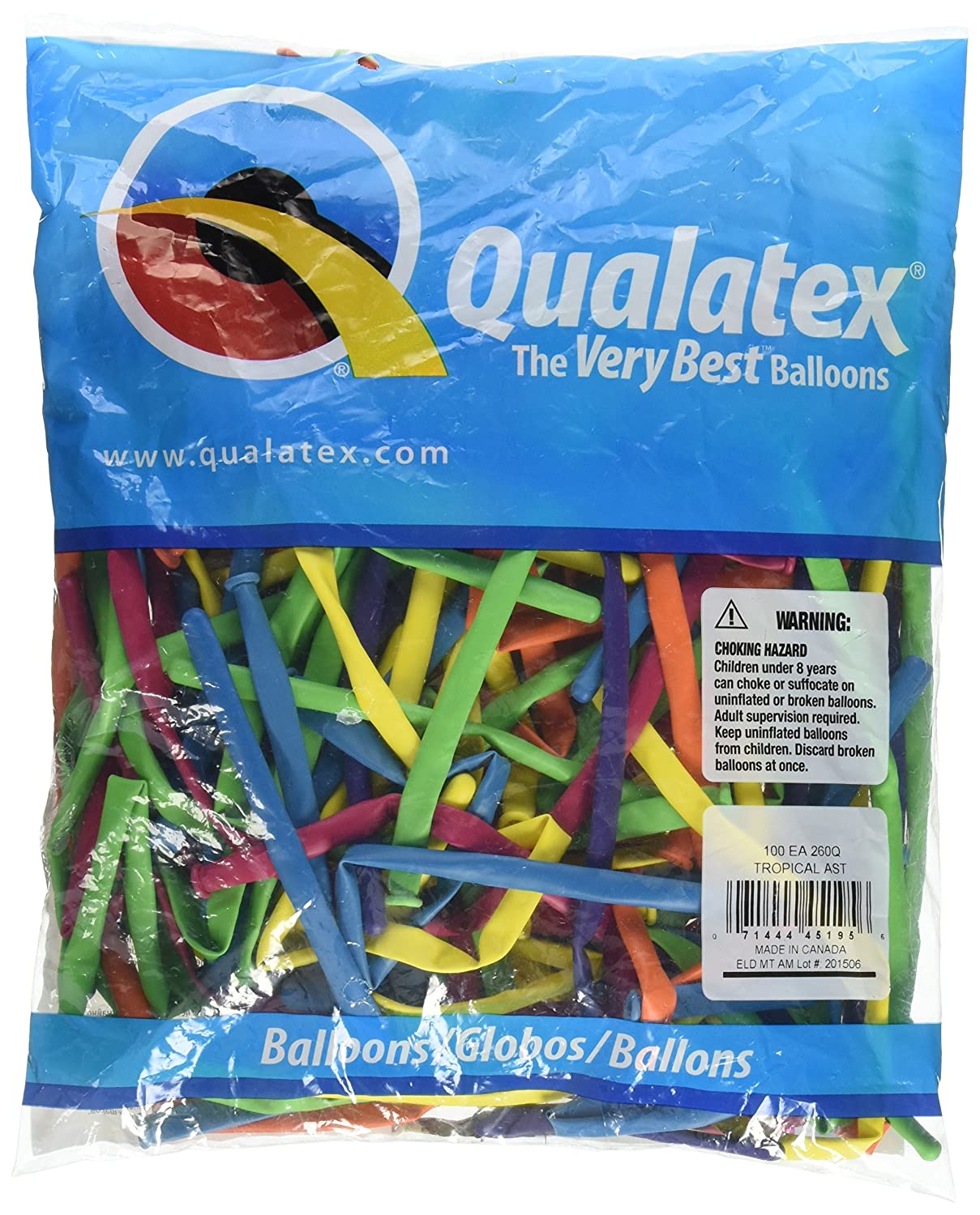 Pioneer Balloon Company 260Q Tropical Latex Balloons, Assortment Qualatex