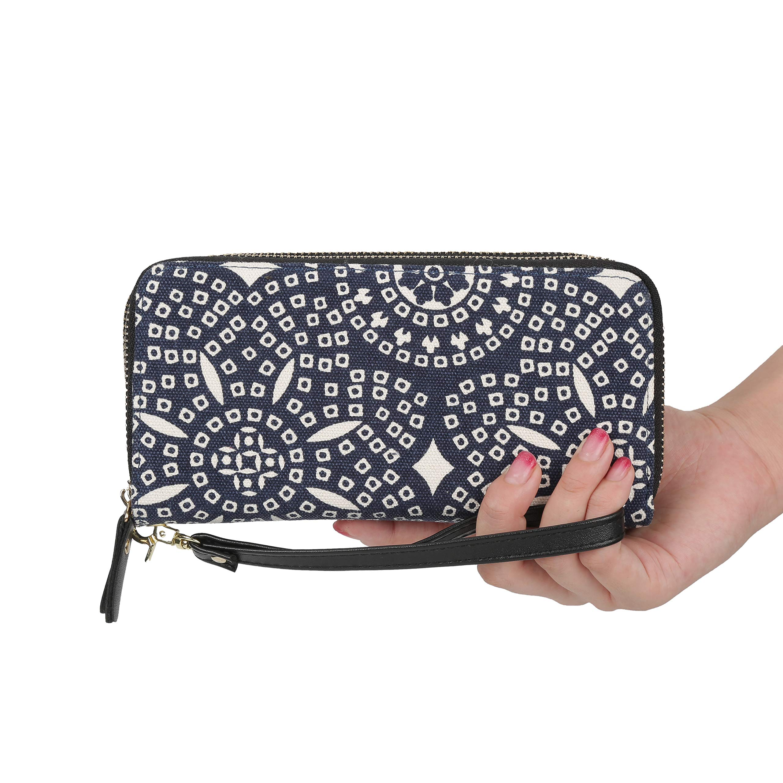 Women Bohemian Wallet Large Capacity Wristlets Zipper Purse Canvas Clutch Bag Card Holder (Kaleidoscope)