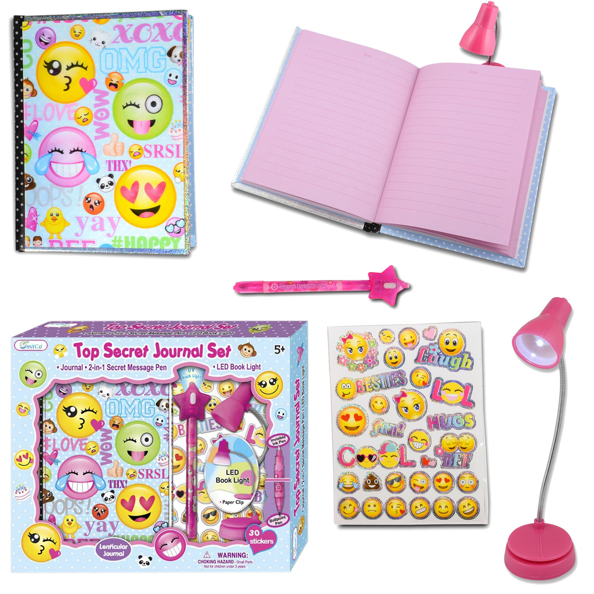 SMITCO Girl Diary - Cute Emoji Lined Journal Birthday Gift Set for 5 to 10 Year Old Kids with Invisible Ink Pen and Clip On LED Light to Keep Her Secrets Safe - First Diaries are A Treasure