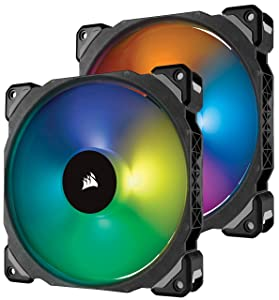 Corsair ML140 PRO 140mm Premium Magnetic Levitation RGB LED PWM Fan with Lighting Node Twin Pack (CO-9050078-WW)