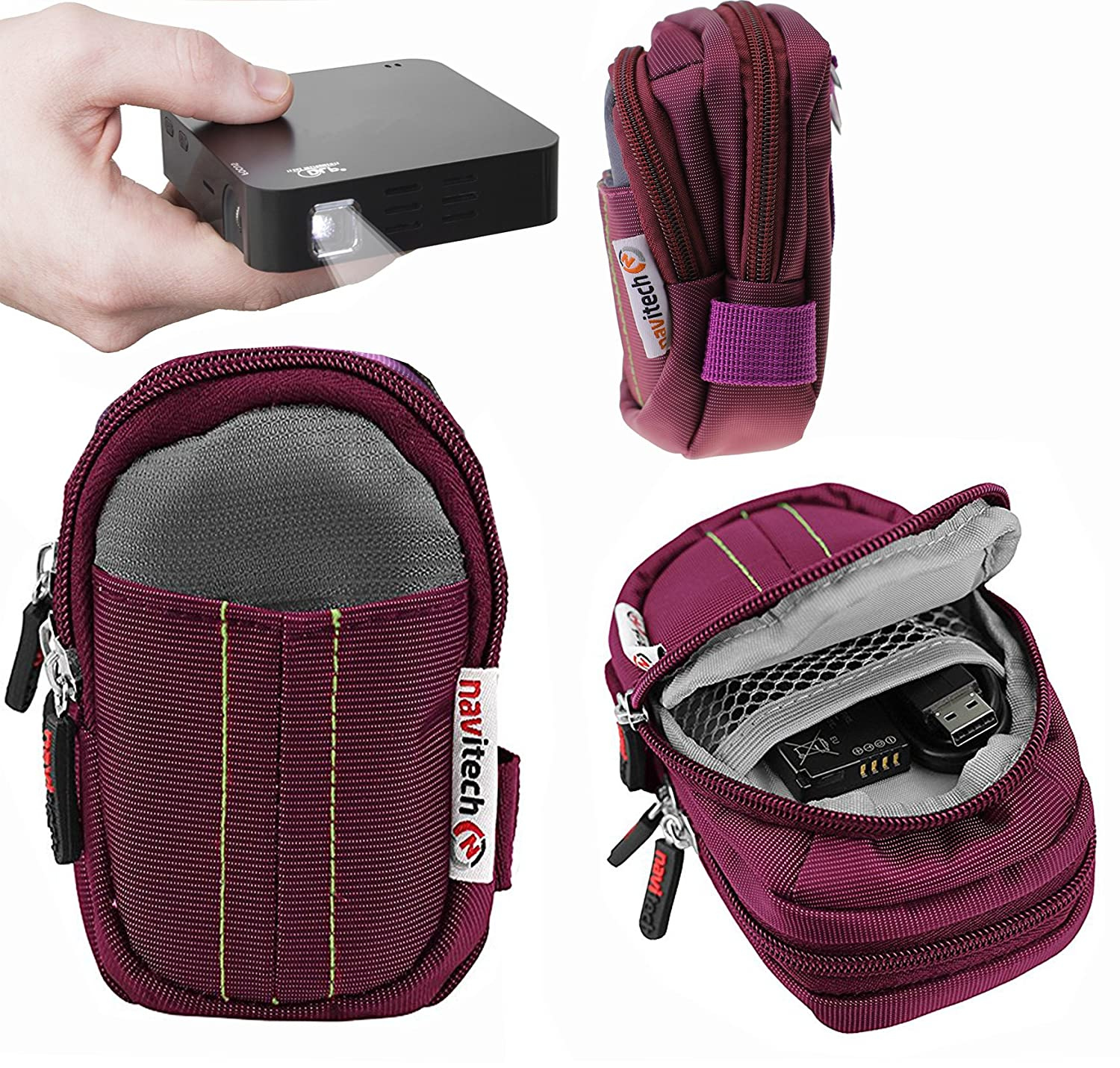 Navitech Purple Protective Portable Handheld Pocket Projector Carrying Case and Travel Bag for the RIF6 Cube 2-inch + accessories