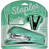 Office Depot Stapler Desk Set Half-Strip Stapler Pinch-Grip Staple Remover (1000 FREE Standard Staples) (Teal Green)