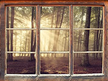 Stil Zeit Mobel Waldlichtung Im Sonnenschein Fenster 3d Wandsticker