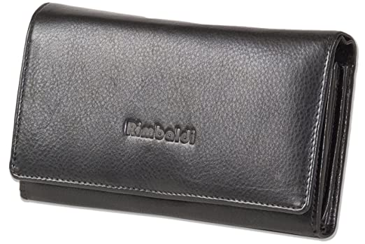 Rimbaldi® Damengeldbörse mit besonders viel Platz aus naturbelassenem Rindsleder in Schwarz, Schwarz