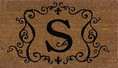 Evergreen 2RM019 Monogram Door Mat, Coir Insert, Letter S, 16 Inches X