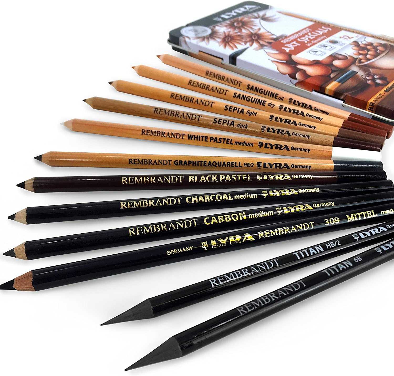 LYRA Rembrandt Polycolor Art Pencils Set of 12 Pencils 2001122 Assorted Greys