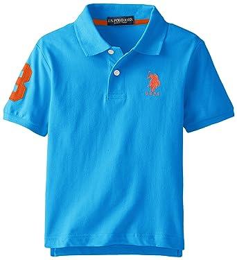 U.S. Polo Assn. Big Boys Short Sleeve Solid Pique Polo, Teal Blue ...