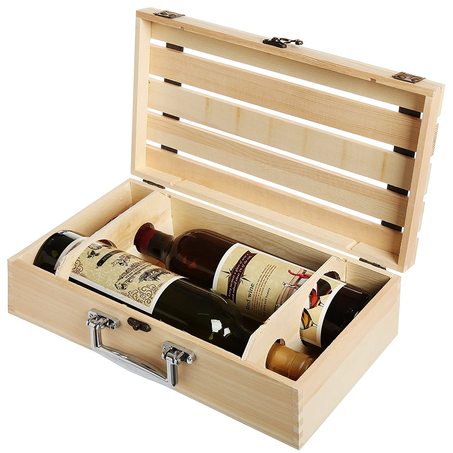 Mygift Handmade Vineyard Design Natural Pine Wood Crate 2 Wine Bottle Travel Storage Box Carrying Display Case