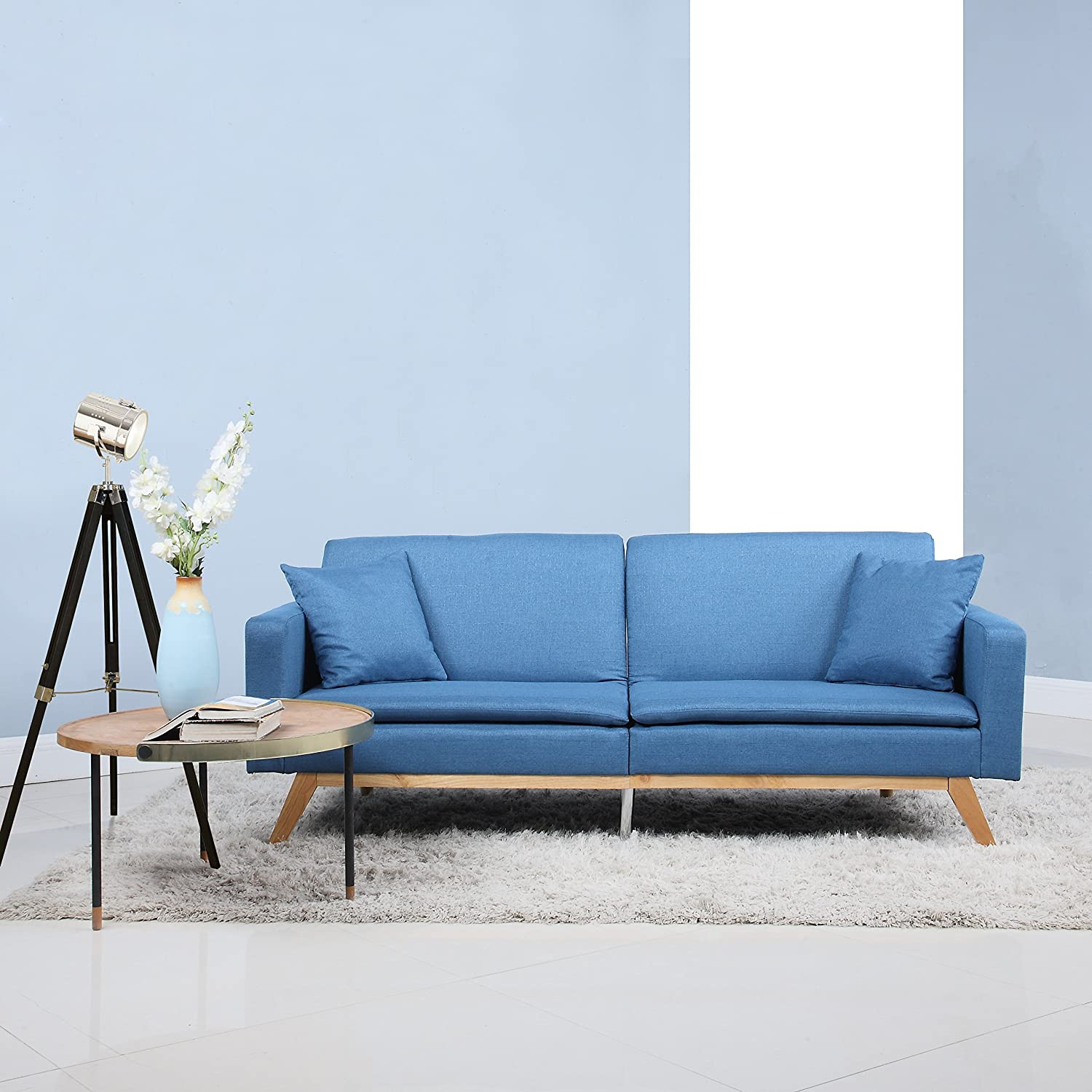 Divano Roma Furniture Modern Tufted Linen Splitback Recliner Sleeper Futon Sofa (Blue) EXP92-FB