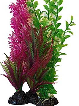 aquarium fish tank plastic artificial plants purple pink medium decorations 33 cm 4 pieces best christmas