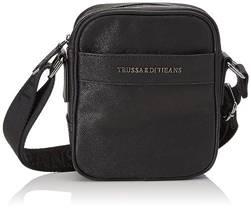 Trussardi Jeans 71b00028-1y000058, Men's Messenger Bag, Nero