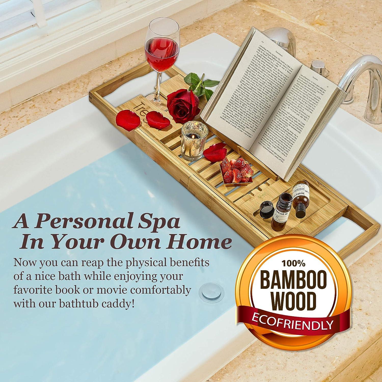 Amazon.com: Tregini Luxury Bathtub Caddy - Extendable Bamboo Wood ...