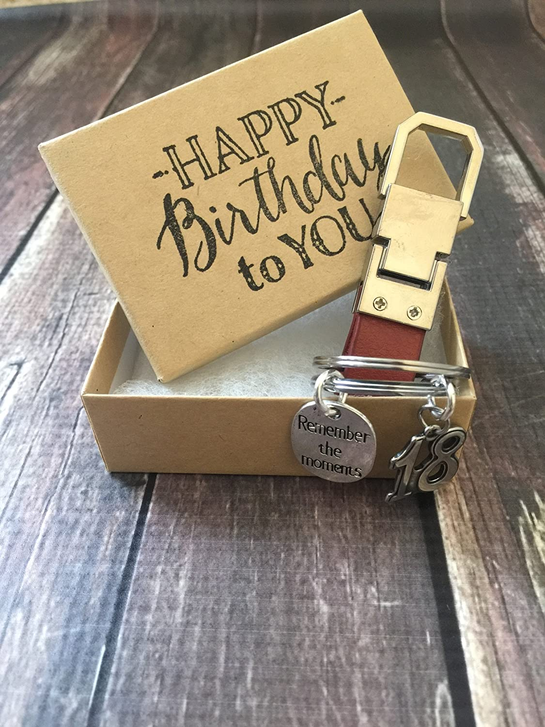 18th Birthday ~ Keepsake Genuine Leather Key Chain with Gift Packaging for Boy or Girl Harper Olivia