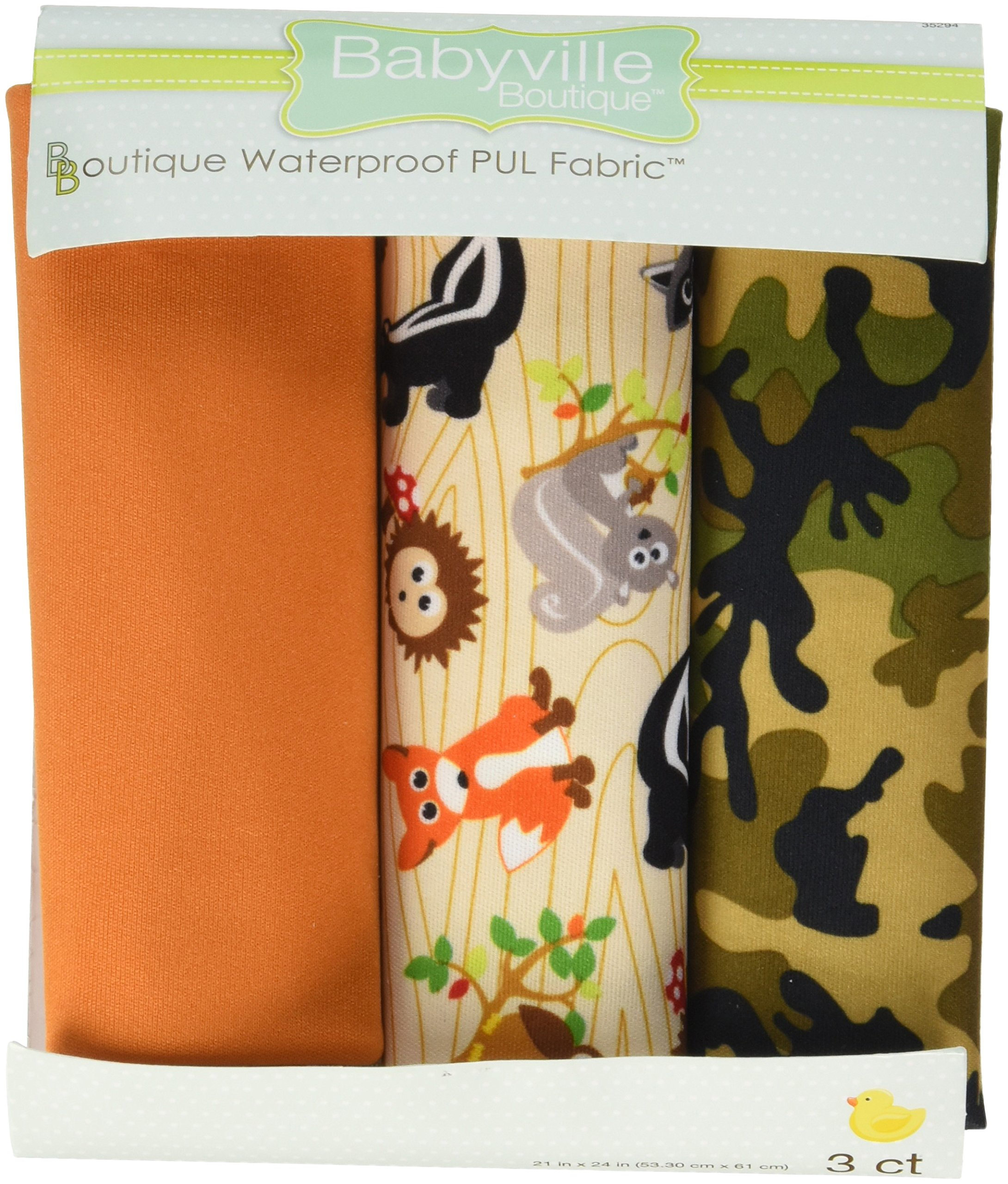 Dritz Babyville 21 by 24-Inch PUL Waterproof Diaper Fabric Cuts, Forest Friends/Camouflage, 3-Pack by Dritz
