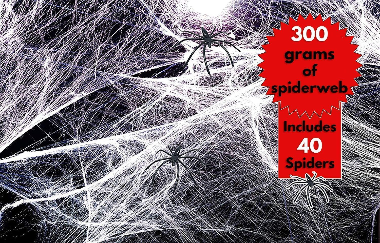 Très grande taille! Toiles d'araignée extensibles et réalistes – Décoration parfaite pour les fêtes d'Halloween – Décorez vos meubles ou vos murs - Livré avec 25 araignées en plastique THE TWIDDLERS