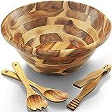 """FANICHI Acacia Wooden Salad Bowl Set - 12.5"""" Diameter x 5"""" Height -Hardwood with Big Salad Bowls 4-Piece Set Perfect for Frui"""