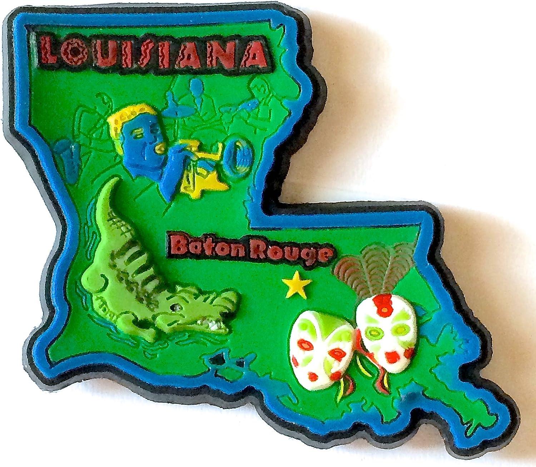 Louisiana State Multi Color PVC Fridge Magnet