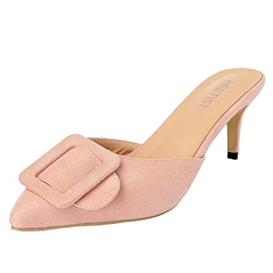 65380e9f14a HEETIST Women s Hastron Low Heel Loafer Pointed Toe Mule Suede Slippers