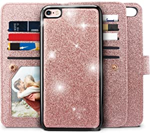 iPhone 6s Plus Case, iPhone 6S Plus / 6 Plus Wallet Case, Miss Arts Detachable Magnetic Slim Case with Car Mount Holder, 9 Card/Cash Slots, PU Leather Cover for Apple iPhone 6s 6 Plus -Rose Gold