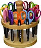 School Smart Paper Edger Scissors with Oak Stand - Set of 12 - Assorted Colors